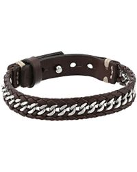 Fossil - Brown Chain And Leather Bracelet - Lyst