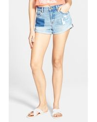Billabong - Blue 'high Side - All Patched Up' Denim Shorts - Lyst
