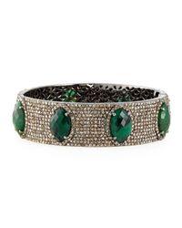 Bavna - Green Bangle Bracelet With Emeralds & Diamonds - Lyst