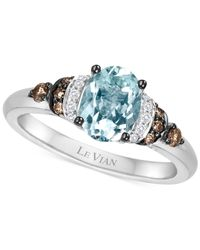 Le Vian | Blue Chocolatier® Aquamarine (9/10 Ct. T.w.) And Diamond (1/6 Ct. T.w.) Ring In 14k White Gold | Lyst