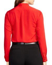 Lauren by Ralph Lauren | Red Plus Crepe Shirt | Lyst