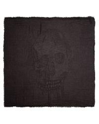 Alexander McQueen - Gray Large Skull Knit Scarf - Lyst