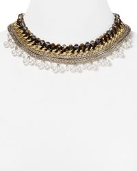 "Aqua - Metallic Ivy Multi-chain Collar Necklace, 16"" - Lyst"