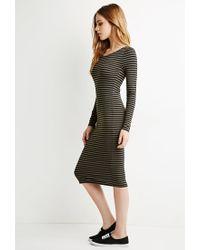Forever 21 | Green Striped Midi Dress | Lyst