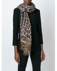 Roberto Cavalli - Black Leopard Print Scarf - Lyst