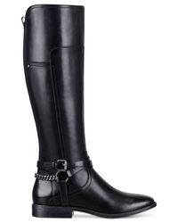 Marc Fisher | Black Alexis Wide Calf Tall Riding Boots | Lyst