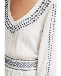 Forever 21 - Natural Embroidered Gauze Peasant Dress You've Been Added To The Waitlist - Lyst