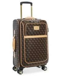 """Guess   Brown Logo Affair Dlx 21"""" Carry-on Spinner Suitcase for Men   Lyst"""