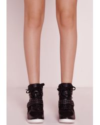 Missguided - Embossed Strap Hidden Wedge High Top Black - Lyst