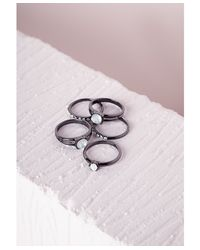 Missguided | Multicolor Opal Stone Ring Pack Multi | Lyst