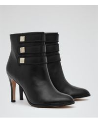 Reiss - Black Lerici Round-toe Ankle Boots - Lyst