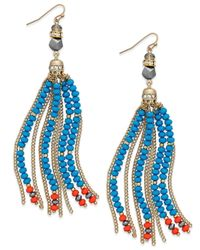 INC International Concepts - Multicolor Gold-tone Mixed Bead And Chain Tassel Drop Earrings - Lyst