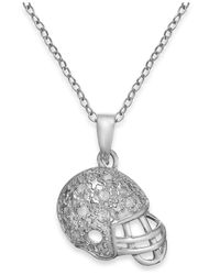 Macy's - Metallic Football Helmet Pendant Necklace In Sterling Silver (1/10 Ct. T.w.) - Lyst