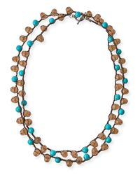 An Old Soul | Blue Smoke Crystal & Turquoise-dyed Long Necklace | Lyst