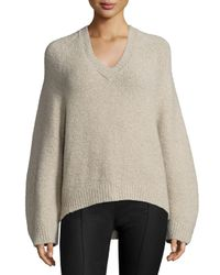 Adam Lippes - Brown V-neck Lantern-sleeve Cashmere-blend Sweater - Lyst