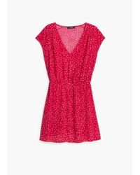 Mango - Red Flowy Print Dress - Lyst