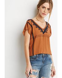 Forever 21 - Brown Geo-embroidered Boxy Top You've Been Added To The Waitlist - Lyst