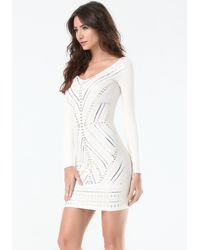 Bebe - Multicolor Embellished Front Dress - Lyst