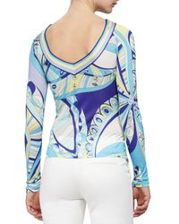 Emilio Pucci - Blue Scoop-back Geometric-print Shirt - Lyst