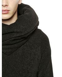 Julius | Black Hooded Brushed Wool Blend Sweatshirt for Men | Lyst