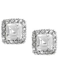 Betsey Johnson | Metallic Silver-tone Square Crystal Stud Earrings | Lyst