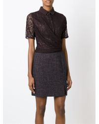 Carven - Red Lace Panel Tweed Dress - Lyst