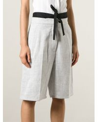 MM6 by Maison Martin Margiela | Gray Bow Detail Bermuda Shorts | Lyst