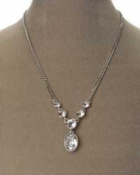 Givenchy - Metallic Silver-Tone Oval-Shaped Pendant Necklace - Lyst