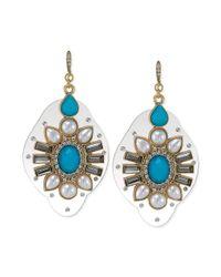 Carolee | Goldtone Blue Stone Oversized Drop Earrings | Lyst