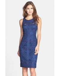Sue Wong | Blue Soutache Sleeveless Sheath Dress | Lyst