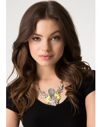 Bebe - Metallic Frosted Stone Bib Necklace - Lyst