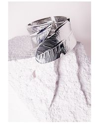 Missguided | Metallic Leaf Detail Cuff Silver | Lyst