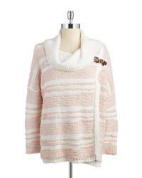 Calvin Klein | Pink Cowlneck Wrap Sweater | Lyst