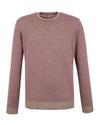 Gibson | Purple Stripe Crew Neck Merino Jumper for Men | Lyst