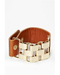 French Connection - Metallic Multi Link And Leather Bracelet for Men - Lyst