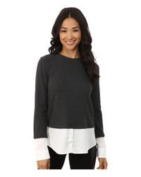 Calvin Klein | Gray Thermal Top W/ Shirting | Lyst