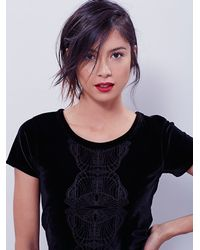 Free People | Black Womens Velvet Baby Tee | Lyst