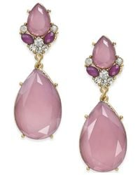 INC International Concepts | Purple Gold-tone Mauve Stone Teardrop Earrings | Lyst