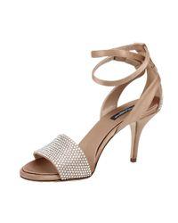 Dolce & Gabbana - Natural Strass Toe Evening Sandal - Lyst
