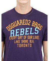 DSquared² - Purple Rebels Printed Surf Fit Cotton T-Shirt for Men - Lyst