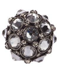 Lanvin - Metallic Crown Crystal Ring - Lyst
