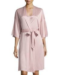 Hanro | Pink Constance Lace-inset 3/4-sleeve Wrap Robe | Lyst
