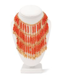 Forever 21 | Orange Goddess Beaded Bib Necklace | Lyst