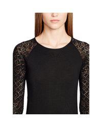Ralph Lauren Black Label - Black Pointelle-sleeved Dress - Lyst