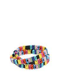 Moschino - Black Leather Bracelet With Logo Lettering - Lyst