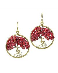 Aeravida | Eternal Tree Of Life Red Coral Branch Brass Dangle Earrings | Lyst