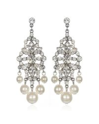 Ben-Amun | Metallic Pearl And Rhinestone Deco Chandeliers | Lyst