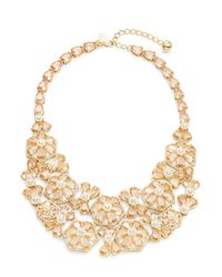kate spade new york | Metallic At First Blush Floral Bib Necklace | Lyst