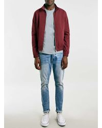 TOPMAN | Red Burgundy Harrington Jacket With Check Lining for Men | Lyst