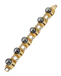 Lele Sadoughi | Metallic Hematite Groove Bracelet | Lyst